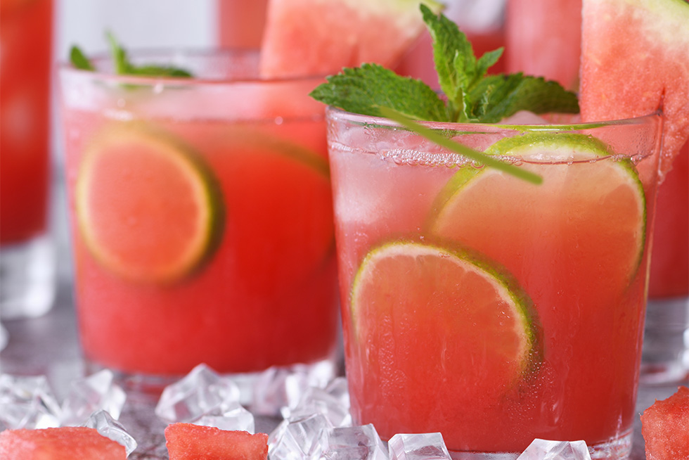 watermelon champagne cocktail